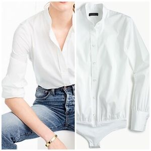 j crew stretch perfect bodysuit white blouse